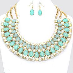 225886 Marbleized Teardrop Pearl Tribal Necklace www.wonatrading.com