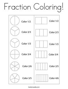 Fraction Coloring Coloring Page - Twisty Noodle Math Practice Worksheets, 2nd Grade Math Worksheets, Fractions Worksheets, Third Grade Math, Math Fractions, Adding Fractions, Equivalent Fractions, Montessori Math, Homeschool Math