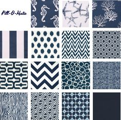 One Navy Pillow Cover Mix and Match fits an 18x18 by Pillomatic. I think the navy would be a good contrast with yellow and orange pillows