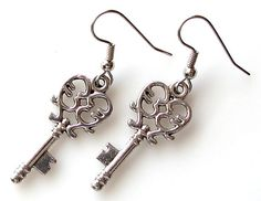 heart key earrings, valentines day gift under 15, surgical steel earrings, skeleton key, earrings for sensitive ears, heart jewelry