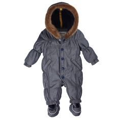 KANZ Baby Schneeanzug yard stripe #Babywinterjacke #Babyskijacke #Babyskioverall #Babyskianzug #grau #Fellkapuze #kanz #warm #kuschelig #Baby #Mädchen #jungen