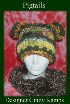 Pigtails Crochet Novelty Hat pattern by Cindy Kamps available on Etsy and Ravelry $4.00