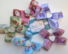 ANY 5 FOR 20 DOLLARS hair bow lined non slip alligator clips. Choose from Sofia the First, Henry Hugglemonster, Rapunzel, Tinkerbell by OliverandMay on Etsy, $20.00