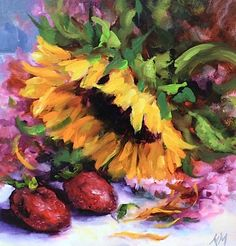 The Visitor, Sunflower painting by Nancy Medina