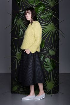 Anna Dudzińska, CONCRETE GREEN, aw2015, sweater DERY, skirt KIMIT. To download high or low resolution product images view Mondrianista.com (editorial use only).