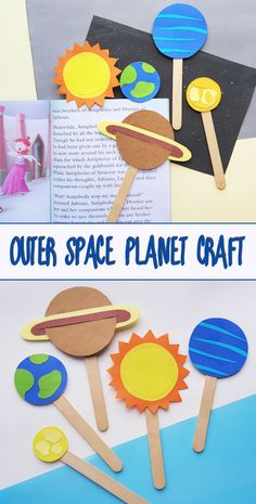 Outer Space Planet Craft for Kids. Bookmark craft or puppet craft. Easy Crafts For Kids, Toddler Crafts, Fun Crafts, Kids Learning Activities, Kindergarten Activities, Preschool, Planet Crafts, Earth Craft, Puppets For Kids