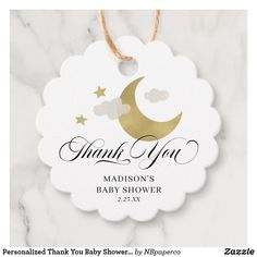 Personalized Thank You Baby Shower Moon & Stars Favor Tags Baby Shower Shirts, Baby Shower Tags, Baby Shower Party Favors, Baby Shower Thank You, Party Favor Tags, Baby Shower Parties, Baby Boy Shower, Baby Shower Decorations, Baby Shower Invitations