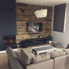 Dark Living Rooms, Narrow Living Room, Home Living Room, Living Room Designs, Living Room Decor, Living Spaces, Modern Fireplace, Living Room With Fireplace, Small Apartment Interior