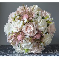 Bridesmaid Bouquets - Pink Thistle & Rose Wedding Posy With Gyp - choose rose Colours Pink Wedding Theme, Wedding Matches, Rose Wedding, Gypsophila Bridesmaid Bouquet, Bride Bouquets, Petite Bride, Uk Bride, Pink Color Schemes, Ivory Roses