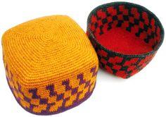 More Tapestry Crochet Square Woolen Hats/Baskets by tapestrycrochet, via Flickr