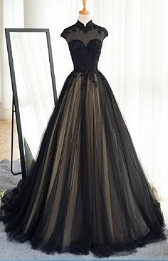 High Neck Prom Dress,Long Black Tulle Prom Dress,Lace