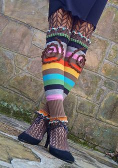 HIPPIE striped levis LEG WARMERS with spirals upcycled unique