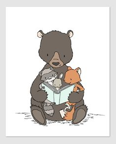 Woodland Nursery Art - Story Time with Bear
