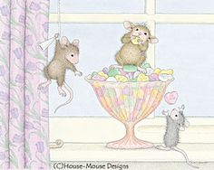 """Monica, Mudpie, Maxwell and Muzzy"" from House-Mouse Designs® featured on the The Daily Squeek® for January 14th, 2013. Click on the image to see it on a bunch of really ""Mice"" products."