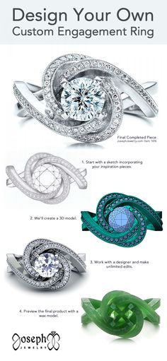 Design your own unique engagement ring! From diamonds to sapphires and platinum to rose gold, we can make the exact ring you have in mind, tailored to fit your budget and created just for you. We have made thousands of one of a kind rings with halos, peekaboo gems, birthstones, filigree, matching sets, and more. Tap to talk to our designers and get your dream ring started!