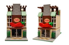 This is a great addition to any Lego city! Burger Restaurant, Fast Food Restaurant, Lego Pizza, Lego House, Custom Lego, Lego Creations, Lego City, The Creator, Innovation