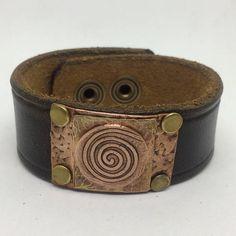 Black Leather Cuff Bracelet for women with Copper swirl.