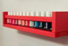 9 Space-Saving Hacks For Apartment Bathrooms - Slideshow | Home + Garden | PureWow New York spice rack-->nail polish holder