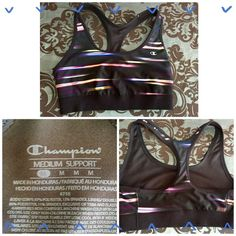 NEW! CHAMPION MEDIUM SUPPORT RACER BACK SPORTS BRA New, never been worn but unfortunately do not have the tags & it's too small! Multicolored racer back sports bra w/medium support. Champion Intimates & Sleepwear Bras