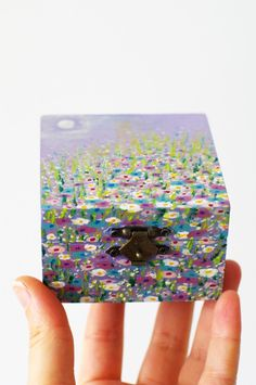 Purple square decorative floral landscape painted box - Grandmother gift ready to ship - Garden gifts - Jewelry treasury flowers wooden box  #box #flowers #floral #nature #purple #landscape #mothersday #garden #treasury #wooden