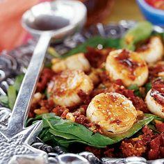 Spinach and Scallops Salad | Coastalliving.com