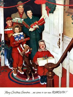 1950s Rockwell Christmas | Merry Christmas, Grandma . . . We Came in Our New Plymouth!', 1951 ...