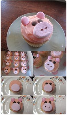 Pig cupcakes - frosted with pink cream cheese icing, added some marshmallows for the snout, choc chips for the piggy eyes and Mentos for the ears. I would use pink mms or jelly beans for the ears. Piggy Cupcakes, Cupcake Cookies, Themed Cupcakes, Yummy Treats, Sweet Treats, Yummy Food, Cupcake Recipes, Dessert Recipes, Cupcake Ideas