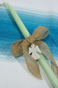 baby angel Palm Sunday candle- DIY Palm Cross, Hand Crafts, Palm Sunday, Diy Candles, 60th Birthday, Easter Crafts, Crosses, Christening, Boy Or Girl