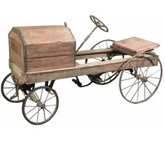 1910 Orange Crate Body Kids Pedal Car. 1911 Chicago Permit to ride on sidewalk, affixed to car. All original condition. 46 inches long.