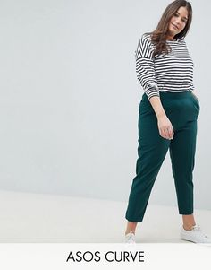 2b45c22721ce ASOS Curve   ASOS DESIGN Curve high waist tapered pants Tapered Trousers, Asos  Curve,