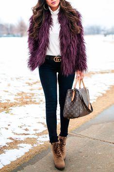 Trouve Jacket, J. Crew Turtleneck, AG Denim, Callisto Boots, Gucci Belt, Louis Vuitton Bag, Argento vivo earrings, winter fashion, fashion winter trends, warm clothes, fashion for women. , The Sweetest Thing Blog, Emily Ann Gemma #thesweetestthingblog #emilygemma