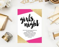 Girls Night Bachelorette Party Invitation by fineanddandypaperie