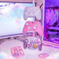 Video Game Bedroom, Video Game Rooms, Girl Bedroom Designs, Room Ideas Bedroom, Gaming Room Setup, Gaming Desk, Computer Desks, Desk Setup, Kawaii Bedroom