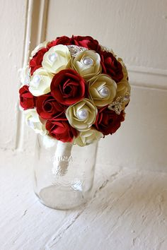 Paper Flower Bouquet Wedding Red White Paper by TheLittleRedButton, $120.00