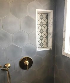 Cement Tile Shop - Encaustic Cement Tile Pacific Grey Hexagon - not a fan of the tiles in the shampoo box. Hexagon Tile Bathroom, Bathroom Renovations, Cement Tile, Cement Tile Shop, Bathroom Flooring, Bathrooms Remodel, Bathroom Design, Bathroom Decor, Beautiful Bathrooms