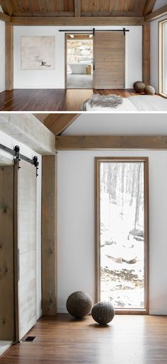 In keeping with the rustic yet modern feel of the bedroom, a sliding barn door separates the bedroom from the ensuite bathroom.