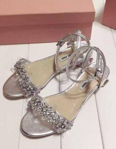 3471d6698 Miu Miu Ankle Strap Jewel Sandal silver