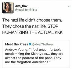 OMFG. People who have more sympathy for the Klan, those who belong to an organization that oppressed, persecuted, terrorized, and mass murdered blacks for a century, than the blacks and other minorities the Klan would still be doing all that to if they could act with impunity as they used to, seriously need to adjust their moral compass. WOW!