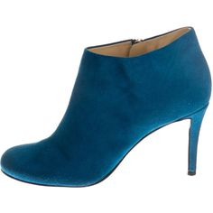 Pre-owned Giuseppe Zanotti Booties ($200) ❤ liked on Polyvore featuring shoes, boots, ankle booties, blue, rounded toe boots, round cap, giuseppe zanotti, round toe booties and suede booties