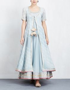 Sky Blue Leheriya Jacket with Anarkali Set Indian Gowns, Indian Attire, Pakistani Dresses, Indian Wear, Indian Outfits, Kurta Designs, Blouse Designs, Indian Designer Outfits, Designer Dresses