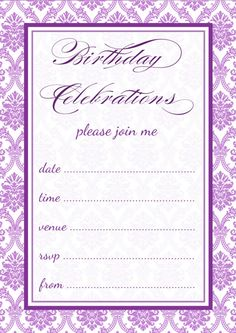 purple invitation templates