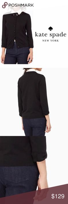 Kate Spade Black Somerset Cardigan with Bow Cuff The PERFECT black cardigan! Crew neck, bracelet sleeves (with subtle bow feature), and black and gold toned buttons. Cotton Cashmere blend with a hint of stretch. 3/4 length sleeves. Still in stores. Excellent condition. kate spade Sweaters Cardigans