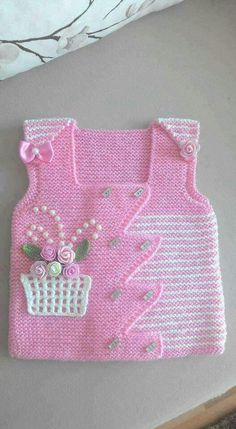 "HUZUR SOKAĞI (Yaşamaya Değer Hobiler) [ ""gorgeous baby vest: pink with a basket of flowers"", ""Nice idea for embellishments"" ] # # # # # # # # Baby Knitting Patterns, Knitting For Kids, Baby Patterns, Free Knitting, Knitting Projects, Crochet Patterns, Knit Baby Sweaters, Knitted Baby Clothes, Crochet Clothes"