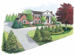 Eplans Landscape Plan: The major challenge in designing the landscape for a large house with straight,  rather symmetrical lines is to bring the scale and style of the architecture  into the landscape while retaining a sense of