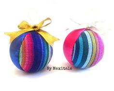 One Mexican Christmas Sphere Christmas ornaments by Mexitale Mexican Christmas Decorations, Mexican Holiday, Christmas Themes, Christmas Tree Decorations, Christmas Holidays, Christmas Ornaments To Make, Christmas Crafts, Mexican Pattern, Bohemian Christmas