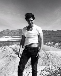 KJ Apa - he's so gorgeous he can even pull this silly pose with the t-shirt off.