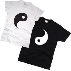 "Coppia t-shirt ""Ying Yang"" set 2 coppia t-shirt Ying Yang Tshirt set di 2 coppia Camicie 100% cotone BFF migliore amico Tshirts"