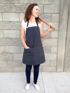 Cotton canvas full somen apron. Barbeque sturdy apron. Handmade with leather straps. Heavy duty cooking apron.