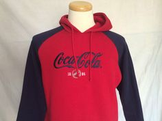 Coca-Cola Hoodie Sz 14W/16W Bottle Cap Embroidery Red Blue Long Sleeves Womens | eBay