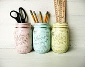 Uber Shabby Chic Office / Pencil Holder / Vase - Painted and Distressed Mason Jars. $18.00, via Etsy.